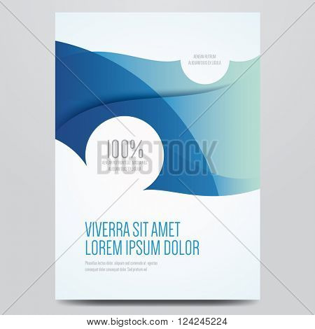 Flyer, brochure, poster, annual report, magazine cover vector template. Modern blue corporate design.