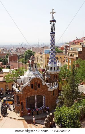 BARCELONA, SPAIN - July 01: Detail of Park Guell, designed by Antonio Gaudi, July 01, 2010 in Barcel