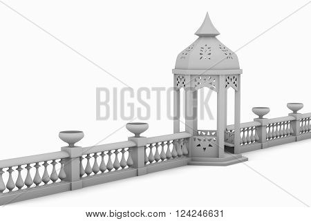 gazebo rotunda and fence baluster with floral vases isolated on white background 3D illustration