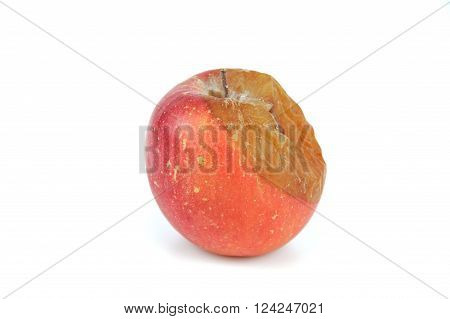 close up on rotten apple on white background