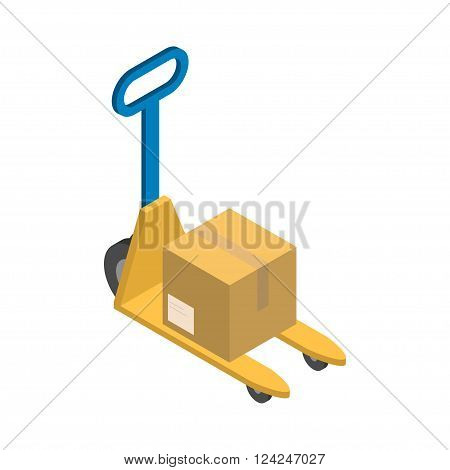 Isometric yellow stacker with cardboard delivery box vector illustration.