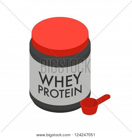 Whey protein isolate in big jar and scoop sport nutrition for bodybuilders isolated on white background vector illustration.