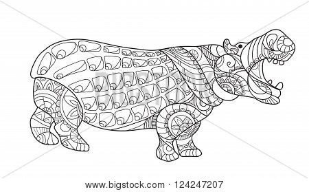Hippo. Decorative hippo. Monochrome sketch. Animal collection. Coloring Page with high details on white background, illustration in zentangle style. Art therapy for adults. Doodle and zentangle