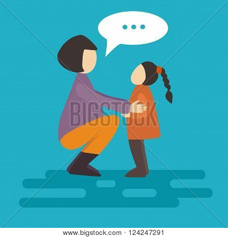 Mom and daughter. Flat. Flat style vector illustration. Modern minimalistic flat design. Vector illustration: a mother and daughter. Flat style vector illustration. Vector