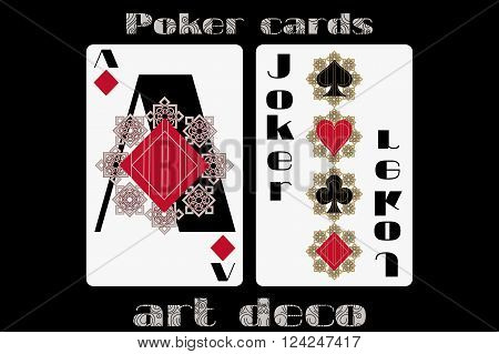Poker Playing Card. Ace Diamond. Joker. Poker Cards In The Art Deco Style. Standard Size Card.