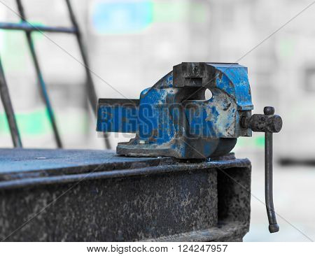 old rusty iron grip of industrial equipment ** Note: Soft Focus at 100%, best at smaller sizes