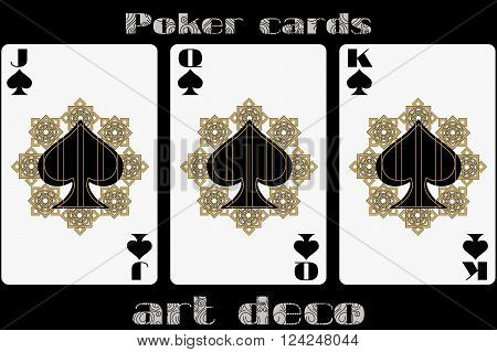 Poker Playing Card. Jack Spade. Queen Spade. King Spade. Poker Cards In The Art Deco Style. Standard
