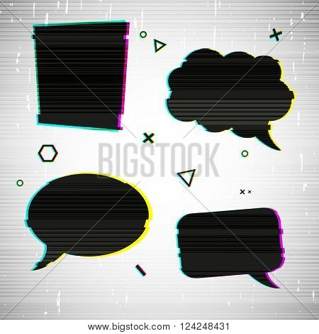 Set template design stickers, web banners, sign, tags, bubble, shapes chat with the effect of glitch. Bubbles with the decor of noise, glitch on the texture background. Vector