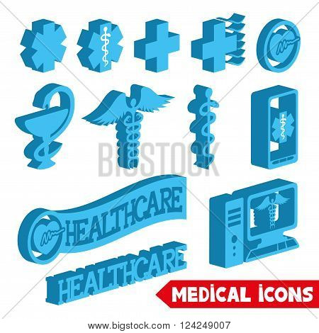 Vector set of medical icons on a white background.