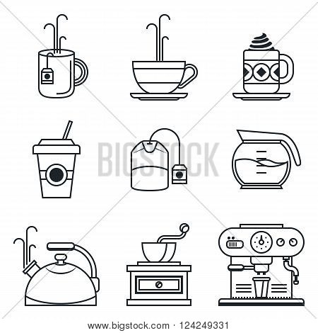 Black lineart icon set. Coffee, tea, cup and devices. Vector illustration in eps10