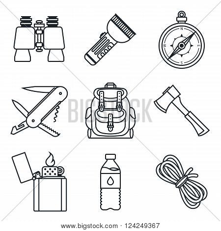 Black lineart icon set. Camping equipment. Vector illustration in eps10