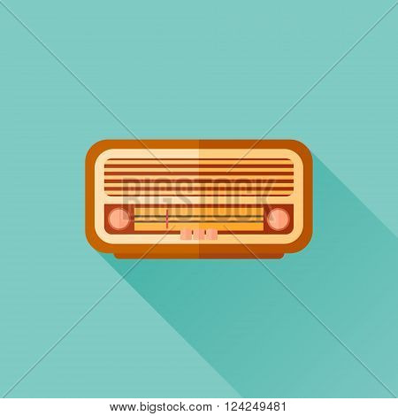 Retro radio flat icon with long shadow. Vector illustration.