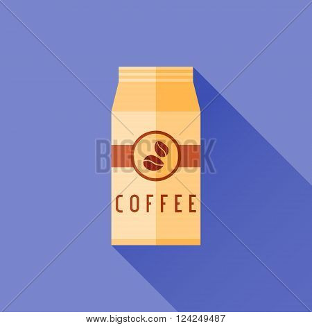 Coffee packaging flat icon with long shadow. Package bag of coffee beans.
