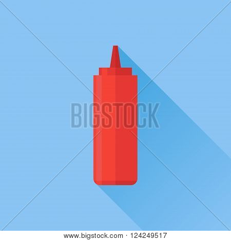 Red bottle with tomato ketchup flat icon with long shadow