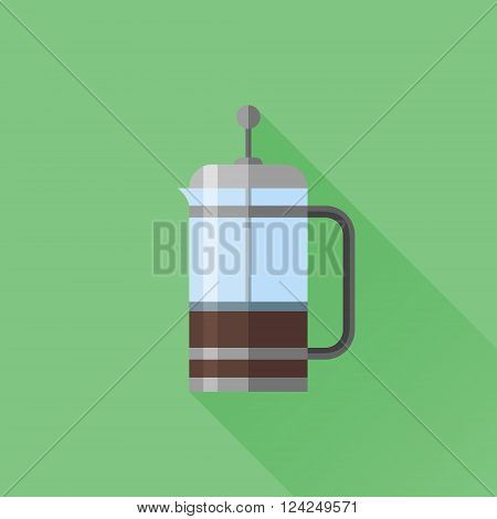 French press flat icon with long shadow on green background. Coffee maker. Vector illustration.