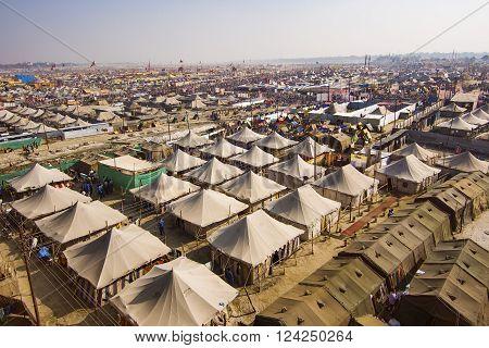 Allahabad, India - February 9, 2013: Aerial view of Kumbh Mela festival, the world's largest religious gathering, in Allahabad, Uttar Pradesh, India.