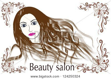 Template logo for beauty salon stylized profile of a young beautiful woman. Abstract logo for a beauty salon portrait of a girl.Vector illustration. EPS 10