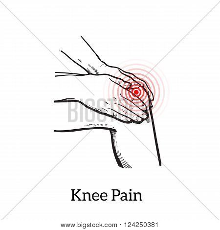 Painted knee pain. Discomfort in a joint leg. Symptoms of motor functions in humans. It is difficult to walk. Vector sketch illustration legs. Hands hold the knee in place of pain. Illustration knee