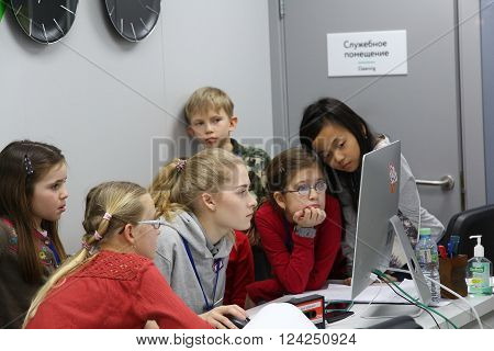 MOSCOW, RUSSIA - MARCH 31, 2016: Kidzania - a worldwide network of educational parks where children playfully get real jobs skills. For editorial use only