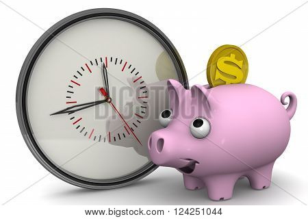 Time is money. Analog clock and piggy bank with a coin of the American dollar on a white surface. Financial concept. 3D Illustration. Isolated