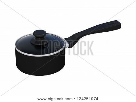 3D illustration of a black saucepan isolated on white background