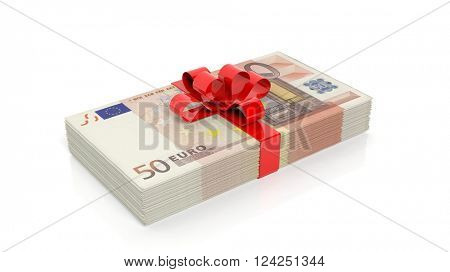 Euro banknotes of 50 stack with red ribbon, isolated on white background, 3d rendering