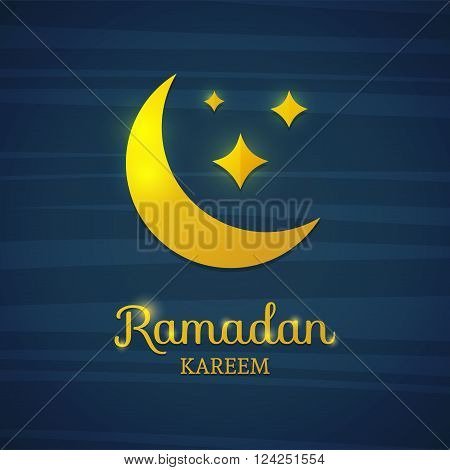 Golden crescent on a blue background. Yellow moon for Ramadan. Card for Ramadan. Card, banner with a crescent gold moon and star for Ramadan. Vector illustration
