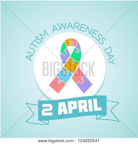 Calendar for each day on April 2. Holiday - Autism awareness day . Icon in the flat style
