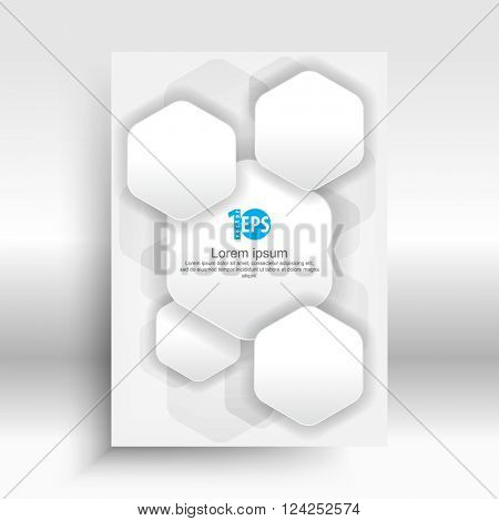 abstract overlapping hexagon shape geometric elements material business design. eps10 vector