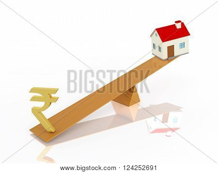 Indian Rupee symbol with House Model - 3D Rendered Image
