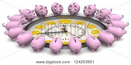Time is money. Analog Clock with symbols of the US currency and piggy banks located around the clock on a white surface. Financial concept. 3D Illustration. Isolated
