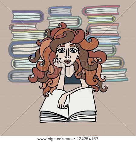 Hand drawn beautiful red-haired girl reading books on abstract background in vector