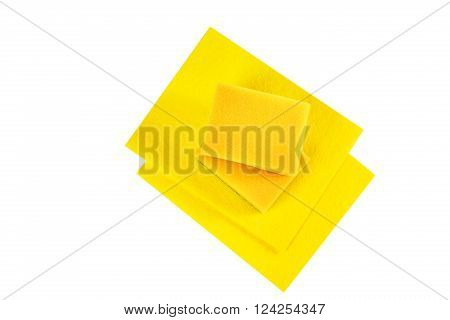Dish Washing Cleaning Cloths and Sponges Isolated on White Background. Household Chemical Goods. Top View. Clipping Path Included.