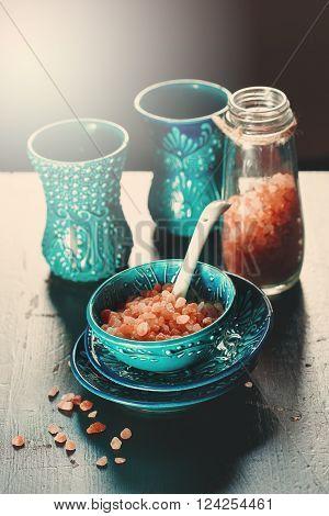 Turkish Crockery. Himalayan Pink Salt.