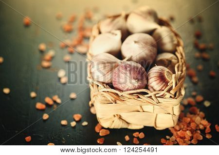 Garlic Close Up In A Basket