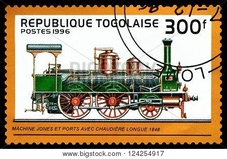 STAVROPOL RUSSIA - APRIL 03 2016: A Stamp printed in the Togo shows old locomotive Jones and Ports 1848 circa 1996