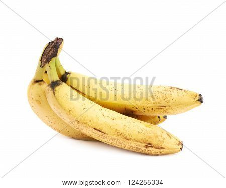 Bunch of old spotted bananas isolated over the white background