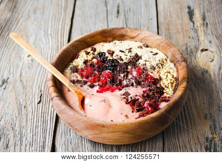 Banana Smoothie Bowl With Berries, Chocolate, Healthy Breakfast