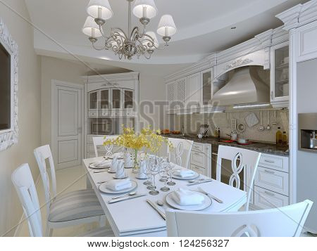 Luxury kitchen interior, served dining table. 3d render