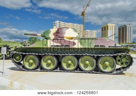 VERKHNYAYA PYSHMA RUSSIA - JUNE 11 2015: Soviet tank T-34-76 - exhibit of the Museum of military equipment.