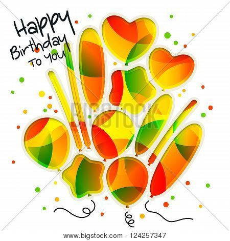 Birthday card in the style of cutouts with colorful balloons on white background.