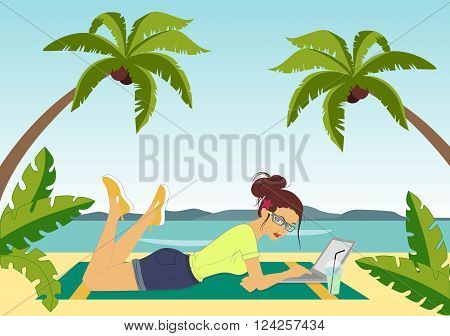 Illustration of a girl who works lying down with laptop on the beach.