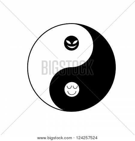 Yin-Yang black and white  symbol  of taoism with evil face and good man face display the good in bad and bad in good