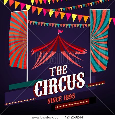 Vector vintage circus background in bright red, violet and blue colors with illuminated elements. Editable retro illustration useful for a poster, banner, advertisement or placard graphic design