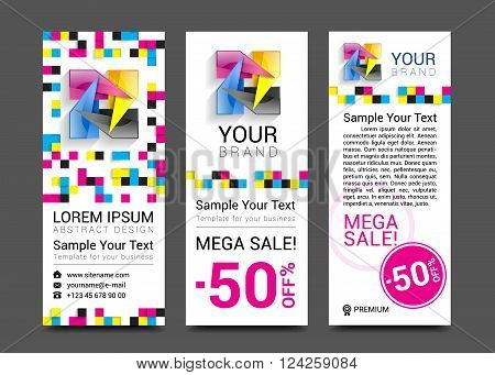CMYK Banners logo element modern design color.
