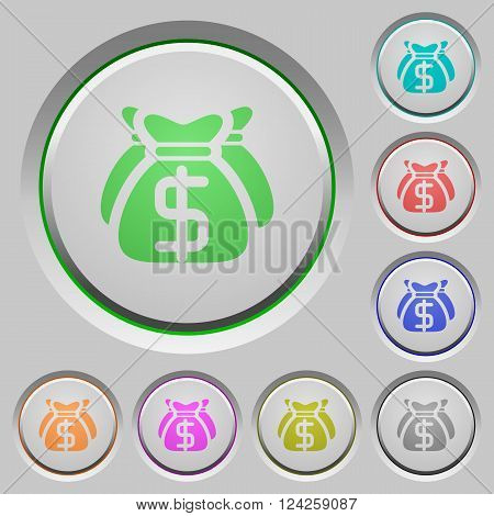 Set of color Dollar bags sunk push buttons.