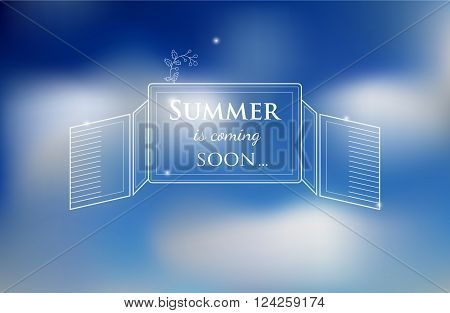 vector blured background with sky and text about summer is coming