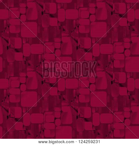 Abstract geometric seamless plain background. Extensive squares and rectangles pattern in deep red and brown shades.