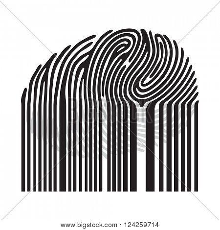 Black fingerprint with bar code.