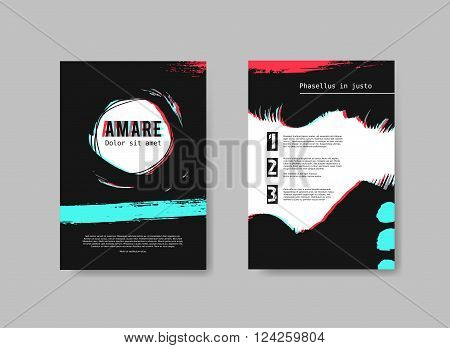 Set of artistic Design Templates Flyers with painted background and stereo effect. Abstract Hand Drawn Vector